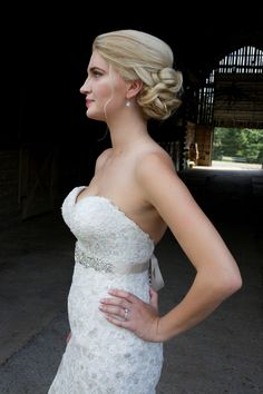 Who doesn't love an elegant side bun?!   Hair | Aimee DuPree, Makeup | Brenlynn Craker, Photo Credit | Alicia Katy Photography