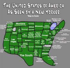 Funny pictures about The USA as seen by a New Yorker. Oh, and cool pics about The USA as seen by a New Yorker. Also, The USA as seen by a New Yorker. Def Not, United States Map, 50 States, Nyc, Us Map, I Smile, Just For Laughs, Nebraska, Oklahoma