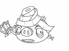 Angry birds epic coloring page - mummy pig