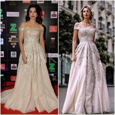 Gauahar Khan had a fashion moment at last night's Zee Cine Awards. She looked breath-takingly gorgeous in a beaded off shoulder gown by Rony El Areif. Off Shoulder Gown, Strapless Dress Formal, Formal Dresses, Awards 2017, Green Carpet, Celebs, Celebrities, Celebrity Style, Bollywood