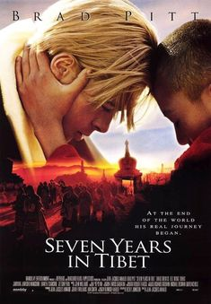 """""""Seven Years in Tibet"""" - Directed by Jean-Jacques Annaud. With Brad Pitt, David Thewlis, BD Wong, Mako. True story of Heinrich Harrer, an Austrian mountain climber who became friends with the Dalai Lama at the time of China's takeover of Tibet. Donnie Brasco, 1990s Movies, Iconic Movies, Brad Pitt Movies, Latest Movies, Great Films, Good Movies, Seven Years In Tibet, True Stories"""