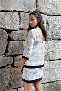 """Raquel Baptista """"Mind, Body & Soul"""" Lookbook - Look3: Tweed Double Layered Dress with Leather Contrast!"""