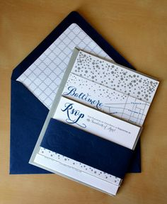 Type A Invitations - Navy and Silver Letterpress Invitation Suite #weddinginvitation #navy #silver #letterpressed