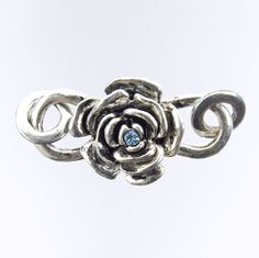 32x18mm In Full Bloom Rose Preciosa Aquamarine Crystal Antique Silver Finish Alloy Metal S-Hook Clasp (PC2)