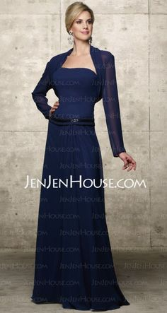Mother of the Bride Dresses - $125.99 - A-Line/Princess Strapless Floor-Length Chiffon  Charmeuse Mother of the Bride Dresses With Beading (008005671) http://jenjenhouse.com/A-line-Princess-Strapless-Floor-length-Chiffon--Charmeuse-Mother-Of-The-Bride-Dresses-With-Beading-008005671-g5671