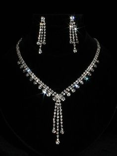 Prom set jewelry style 61. Rhinestone Necklace and Earring Set
