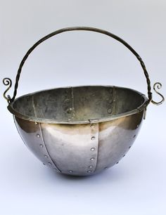 Handmade Viking Cauldron Replica  Five Litre by RoyalOakArmoury, $330.00  Based on the ship's cauldron found with the Oseberg burial.  Made of nine riveted steel plates, and a wrought iron bail, with a heavy-gauge bottom for even heat distribution to prevent burning. The cauldron's capacity is 5 litres, and it measures 30cm across the brim.