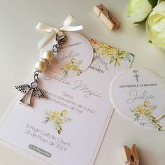 Recuerdos Primera Comunion Ideas, Baptism Party Decorations, Girls First Communion Dresses, Holi, Party Invitations, Place Card Holders, Baby Shower, Miami, Cards