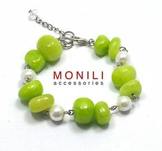 Green riverstone bracelet by Monili