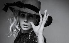 Download wallpapers Lady Gaga, American singer, monochrome, portrait, woman in a hat, Stefani Joanne Angelina Germanotta