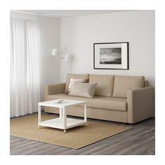 "FRIHETEN Sleeper sofa - Skiftebo beige - IKEA Product dimensions  Width: 88 5/8 ""  Depth: 41 3/8 ""  Height: 32 5/8 ""  Seat depth: 24 ""  Seat height: 18 1/8 ""  Bed width: 56 3/4 ""  Bed length: 78 3/8 """