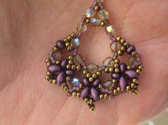 Beadwoven Dangle Earrings of Crystals by SleepingCatDesigns