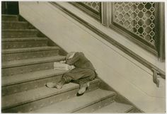 Newsboy Asleep on Stairs with Papers. Jersey City, NJ Feb 2012   By Lewis Hine detroit-aesthetic.tumblr.com