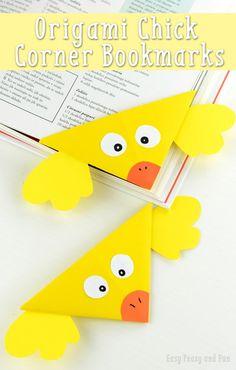 Chick Corner Bookmark - DIY Origami Corner Bookmarks for Kids