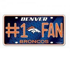 Denver Broncos #1 Fan Metal License Plate