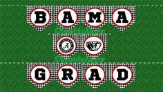 "University of Alabama ""BAMA GRAD"" Printable Banner! Black/white houndstooth with crimson trim, one-click to print! by HoundstoothbyJenn on Etsy https://www.etsy.com/listing/291260139/university-of-alabama-bama-grad"