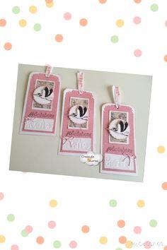 #Tags de color rosa, hechos con embossing,  muy apropiados para felicitar a los recién nacidos!!