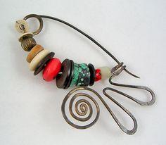 Brooch | Ramona Solberg.  Silver and Trade Beads.  ca. 1980s
