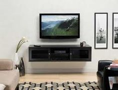 Wall mounted tv and shelves
