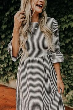 Stripe Half Sleeve Midi Dress - Work Dresses - Ideas of Work Dresses - The brand name R. stands for three creative designers namely Renee Ashley and Miss Sheperd with a preference fo Modest Dresses, Modest Outfits, Boho Outfits, Simple Dresses, Modest Fashion, Sexy Dresses, Spring Outfits, Cute Outfits, Fashion Outfits