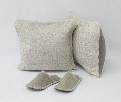 New Collection. Urban Yeti. Products are solid felted (one-piece). The collection is in grey and natural colors. For Home. Cathouse. Felt Slippers.