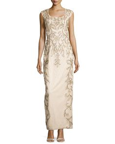 Lace Scoop-Back Gown, Champagne  by Sue Wong at Neiman Marcus.