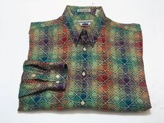 Jhane Barnes L Men's Long Sleeve Button Front Shirt Multi Color Abstract Japan #JhaneBarnes #ButtonFront