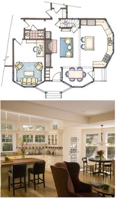A lovely kitchen with clerestory windows and a skylight, a new fireplace, and an eat in kitchen bay, as well as a small entry and mudroom. Victorian kitchen addition Lexington Massachusetts. Designed By: Thomas Buckborough & Associates, CKD, Acton, MA
