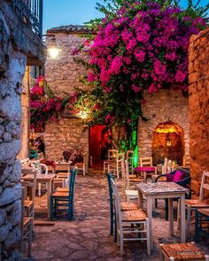 """interior-design-home: """"Cozy restaurant in Areópoli, Lakonia, Greece """" Places Around The World, The Places Youll Go, Places To Go, Around The Worlds, Wonderful Places, Beautiful Places, Cozy Restaurant, Travel Aesthetic, Greek Islands"""