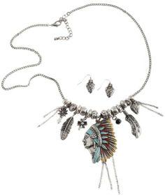 Native American Headdress Charm Necklace Set - Sheplers