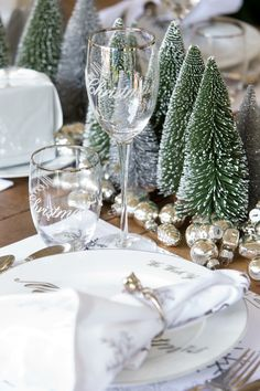 Christmas Tablescapes in Silver