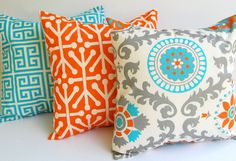 Throw pillow covers set of three 20 x 20 cushion covers Orange Natural Aqua Blue Gray pillows orange pillows