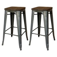 """Streamlined and chic, the Threshold Hampden Industrial 29"""" Barstool with Wood Top (Set of 2) is a hot addition to your modern loft apartment or home. This furniture set is the epitome of industrial cool with unique metal legs that subtly swoop out at the base and polished hardwood seats. A hip addition to your kitchen island, counter or table, these stools are a design aficionado's dream come true."""
