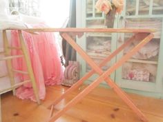 Childrens pink ironing board pink wood original cottage  romantic  shabby chic prairie by Vintagewhitecottage on Etsy