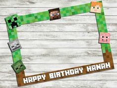 Minecraft inspired birthday party photo booth frame by IRMdesgn