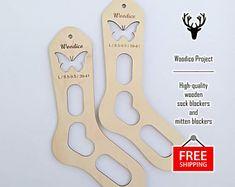 High-quality wooden sock blockers and mitten de WoodicoProjectShop Socks, Free Shipping, Bottle, Projects, Log Projects, Flask, Hosiery, Stockings, Sock