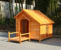 Large Timber Log Cabin Dog Kennel, Wood House $139.95... My husband can make this for Benjie