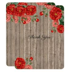 Romantic Rustic Wood Pink Red Roses Thank You Card - wedding invitations diy cyo special idea personalize card