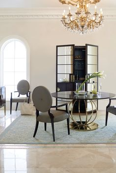 Bernhardt | Jet Set Round Dining Table, Arm Chairs, Curio Cabinet