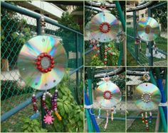 Diy Sun Catchers. These are great to hang in your garden or around your fruit trees also to keep the birds away ~!~