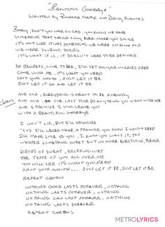 Richard Marx's handwritten lyrics to his NEW song #BeautifulGoodbye