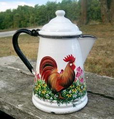 Old Vtg Enamel White Coffee Pot HP Rooster WildFlowers HandPainted
