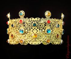 Byzantine DG Crown Swarovski 24 k Gold Red by Elviejewelrydreams