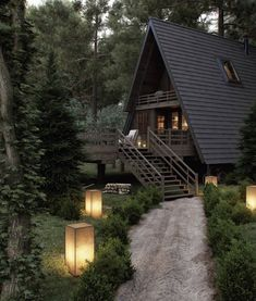Forest House at VWArtclub Rustic house Forest House Cabins In The Woods, House In The Woods, House Near Lake, House In Nature, Cabin Homes, Log Homes, Forest House, Forest Cottage, Forest Cabin