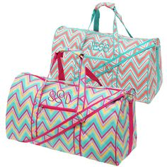 748745f77f Monogrammed Chevron Mint and Coral Travel Duffel Bags