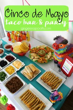 Hosting a Cinco de Mayo Taco Bar & Party . Great ideas for a Mexican fiesta! Mexican food cans with cactus & Derby Party, Nacho Bar, Taco Bar Buffet, Party Buffet, Do It Yourself Food, Mexican Fiesta Party, Mexican Birthday, 2nd Birthday, Themed Birthday Parties