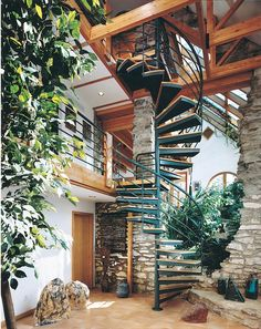 Diameter Multi-Story Custom Welded Steel Unit</B> with oak tread coverings and multi-line steel handrails. <I>(Stair painted by owner.) Window Wizards, Goodman Residence, Huntingdon Valley, PA</I> Spiral Staircase Outdoor, Steel Handrail, Evergreen Vines, Garden Design, House Design, Backyard, Patio, Diy Planters, Deck