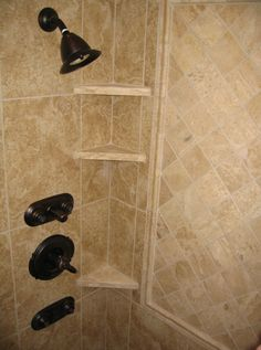 Granite tile bathroom ideas master bathroom walk in shower granite tile built in toiletry shelves decorating Built In Shower Shelf, Tile Shower Shelf, Shower Corner Shelf, Bathroom Niche, Master Bathroom, Bathroom Ideas, Farmhouse Faucet, Shower Tile Designs, Modern Closet