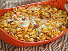 Perfect fall supper: baked shells with roasted red pepper cream sauce and Italian sausage #recipe