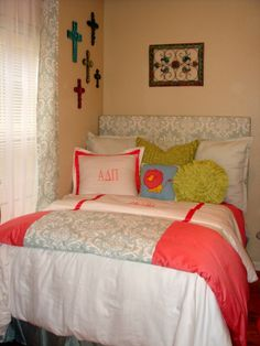 Meg's Apartment with ADPi Flair, My baby girl just landed in her first apartment.  She wanted a cheerful room and selected=